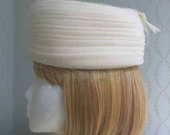 Lovely Ivory Pleated Pillbox Hat with Netting by Darcel Exclusive
