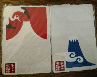 Japanese handmade paper postcard set, Mount Fuji and Crane designs