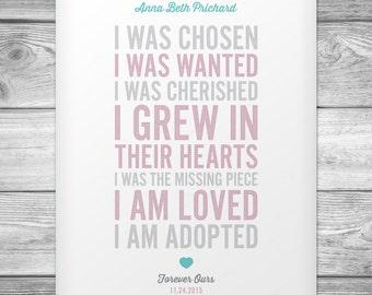 Customizable Adoption Poem Poster - 11x14 Digital File
