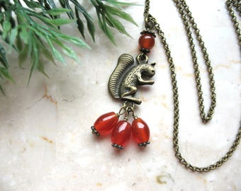 Squirrel necklace, forest creature, carnelian