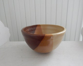 Hand Thrown Studio Art Pottery Tri-Colored Mixing Bowl - Mid Century Modern Pottery Bowl - Handcrafted Pottery - Signed by the Artist