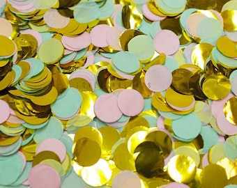 Mint Pink Gold Round Confetti, Mint Pink Gold Confetti, Mint Pink Wedding Confetti, Bridal Shower Confetti, Mint Pink Balloon Confetti