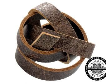 "Genuine Flat Leather Strap, Raw Cut Double Side, Distress Brown, 10 mm (3/8 inch) 1 yard (36"" inch) (1721)"