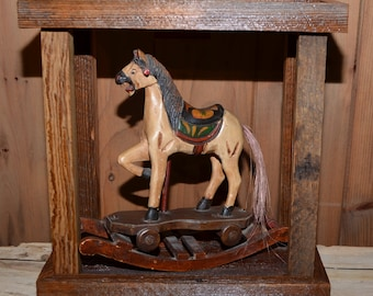 Vintage Handcarved Rocking Horse and Barnwood Table Lamp