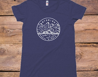 Wyoming State Design - Women's TriBlend Old School T-Shirt