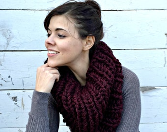 Oversized Super Chunky Cowl Snood Hood Scarf - Maroon - MADE TO ORDER