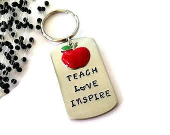 Teach Love Inspire Keyring, Teacher gift, Hand Stamped Keyring, Thank You Teacher Keyring, Teacher Assistant Gift, Graduation Gift