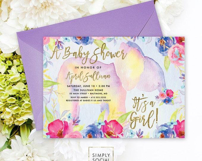 Elephant Baby Shower Invitation - Boho Elephant It's A Girl Floral Baby Shower Invitation Watercolor Faux Gold Foil