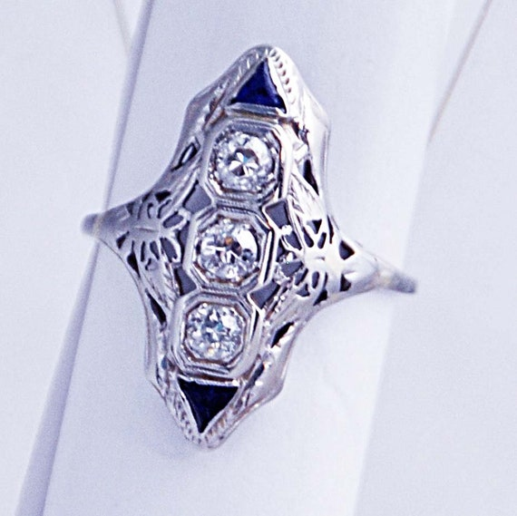 Antique Original ART DECO Diamonds & Sapphires RING C 1920's 14K White Gold Weight 3 grams Ring Size 8 Provenance Available Exc Condition