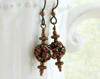 Copper and Fuchsia rhinestone earrings with hypoallergenic  Niobium ear wires - Steampunk Jewelry - Magenta Pink disco balls