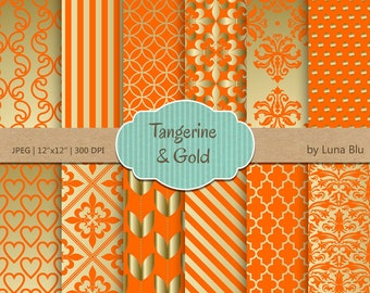 "Tangerine Digital Paper: ""Tangerine and Gold Patterns "" for invitations, scrapbooking, cardmaking, stationary, crafts"