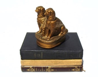 French antique Chalk ware Spaniel Duo Gold finish Perfect decorative item early 1900's