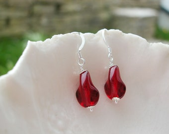 Simple Red Murano Glass Faceted Earrings