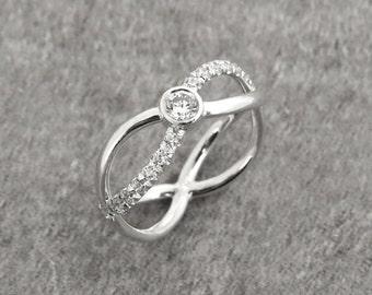 Diamond Engagement Ring, Unique Diamond Ring, Engagement Diamond Ring, Unique Engagement Ring, 14k Gold Diamond Ring, Infinity Diamond Ring