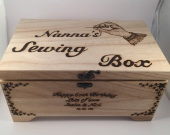 Personalised Wooden Sewing Box With removable tray pyrography