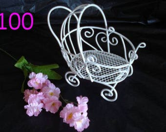 100 Vintage Mini Wire Baby Carriages - (Set of 100) - Great for Baby Shower Decorations
