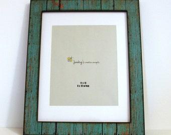 11x14 8x10 Mat Wood Photo Frame Weathered Rustic Turquoise ~ Large Rustic Frame ~ Weathered Wood Picture Frame ~ 11 x 14 Barnwood Frame