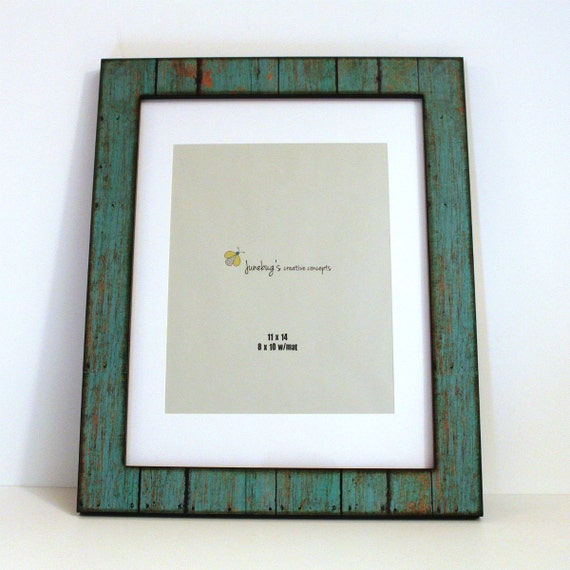 11x14 8x10 mat wood photo frame weathered rustic turquoise. Black Bedroom Furniture Sets. Home Design Ideas