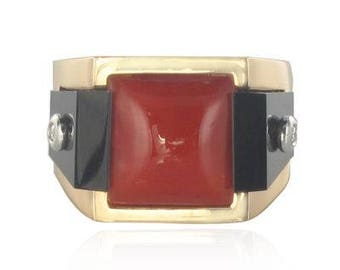 Coral onyx Tank Art deco 18K Yellow Gold Diamond ring
