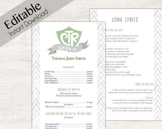 Baptism Program Editable PDF LDS Printable Digital Handout