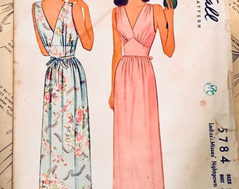 BUST 38 ~1940s Noir ~ devastatingly feminine vintage nightgown McCall 5784