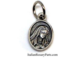 Virgin Mary Mother of Sorrows Mater Dolorosa Oval Bracelet Medal Charm | Italian Rosary Parts