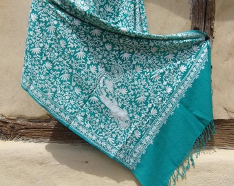 """Elegant  Pale Sea Green Pashmina Shawl/Stole made from cashmere Goats wool from Ladakh. Soft and Luxurious . 80 x 27""""."""