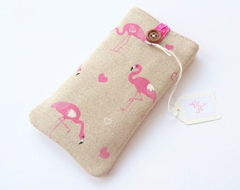 Pink Flamingos Padded Phone Case iPhone X 6 6s 7 8 Plus Google Pixel 2 / XL Samsung Galaxy S9 / + Natural Linen Fabric Hearts Tropical Birds