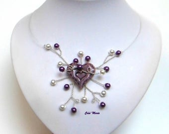 Purple and white heart wedding necklace Co346