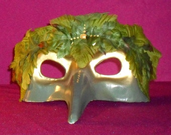 Wide Green Man Masquerade Mask. Bring the beauty of the nature spirits and fae to any celebration, festival, masquerade or themed event.