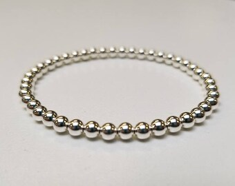 4mm Full Sterling Silver stretch bracelet