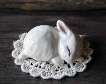 Little precious ceramic Sleeping bunny