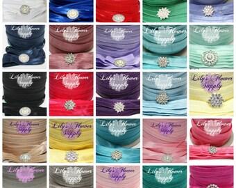 Multi Pack 5/8 inch Elastic - You choose colors  and quantity - Fold Over Elastic - Elastic by the yard - FOE - DIY - Headbands