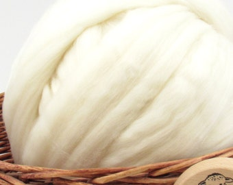 Merino Superwash Wool Top Roving 23 Micron - Undyed Spinning Fiber / 1oz