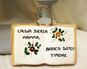 Vintage Italian ceramic plaque book shaped hand painted with Mother phrase years 1950's Ceramica Titano San Marino republic