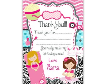 Slumber Party Thank You Card - Pink Chevron, Black Damask, Teal Girl Sleepover Personalized Birthday Party Thank You -Digital Printable File