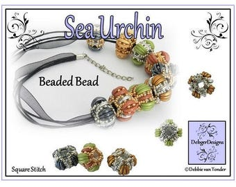 Beading Pattern, Tutorial, Beaded Bead - SEA URCHIN