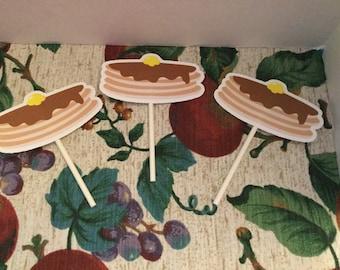 Pancake Cupcake Toppers Set of 12