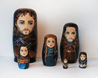 Stark family. Wooden Nesting Dolls set of 6 characters