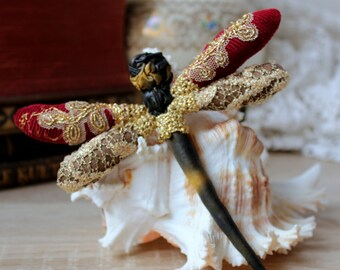 Gold burgundy dragonfly brooch Insect jewelry Textile fiber Antique lace Hand embroidery crochet marsala Christmas gift accessory