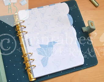 A5 planner dividers set - Origami hummingbird pattern in blue cobalt - 5 planner sections and back pages protection