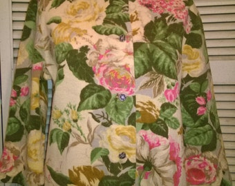 50s Vintage Floral A-Line Knitwear Jacket/Cardigan Imported by Hooper
