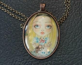 Adventures of Alice Necklace Fantasy Face Lowbrow Art Pendant Big Eye Pendant