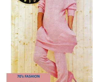 Digital Download 70's Knitting MACHINE Pattern Pullover & Leggings - Sz 10/12 Vintage MACHINE Knitting PDF Pattern File Knitting Supplies