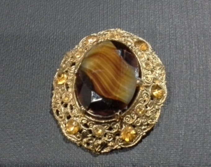 Huge Vintage Gold Tone Filigree Brooch with Striped Brown Agate Faceted Glass Cabochon & Amber Crystals