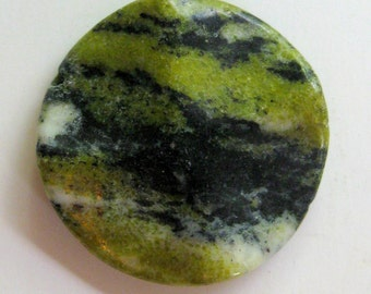 Yellow Turquoise  Wavy Coin Pendant Focal Bead (1)