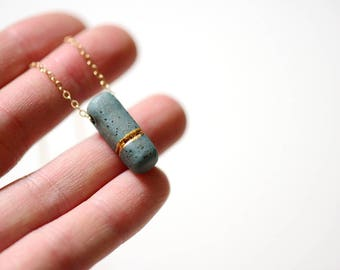 Small Stone BB Soft Rectangle Necklace - Gold - Porcelain Jewelry - 22k Gold - 14k gold filled chain mint