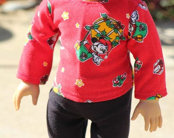 """Mouse Christmas Top to Fit Like American Girl Doll Clothes, 18"""" Doll Christmas Top, 18"""" Doll Clothes, 18 Inch Doll Christmas, 18"""" Doll Top"""