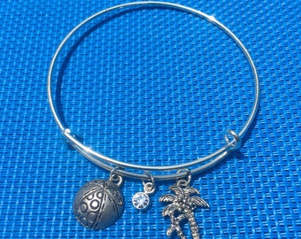 Beach Ball & Palm Tree Charm Bracelet