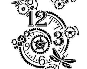 Clock Stencil Etsy